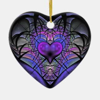 Luminescent Heart Fractal Tree Ornament