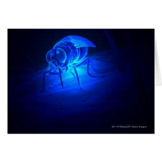 Luminescent illustration of a tsetse fly greeting card