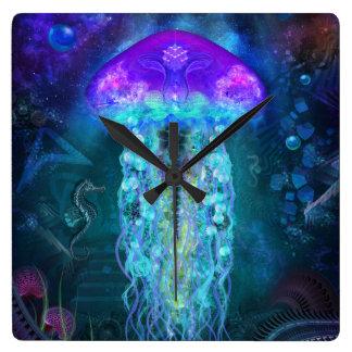 Luminescent Jellyfish Square Wall Clock