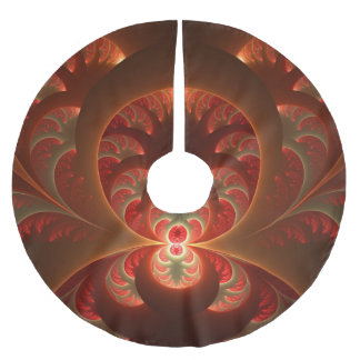 Luminous abstract modern orange red Fractal Brushed Polyester Tree Skirt