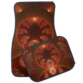 Luminous abstract modern orange red Fractal Floor Mat