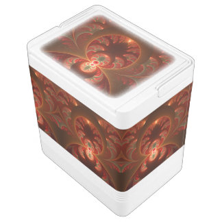 Luminous abstract modern orange red Fractal Igloo Cooler