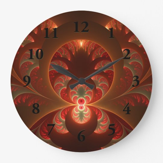 Luminous abstract modern orange red Fractal Large Clock