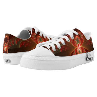 Luminous abstract modern orange red Fractal Low Tops
