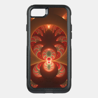 Luminous abstract modern orange red Fractal OtterBox Commuter iPhone 8/7 Case