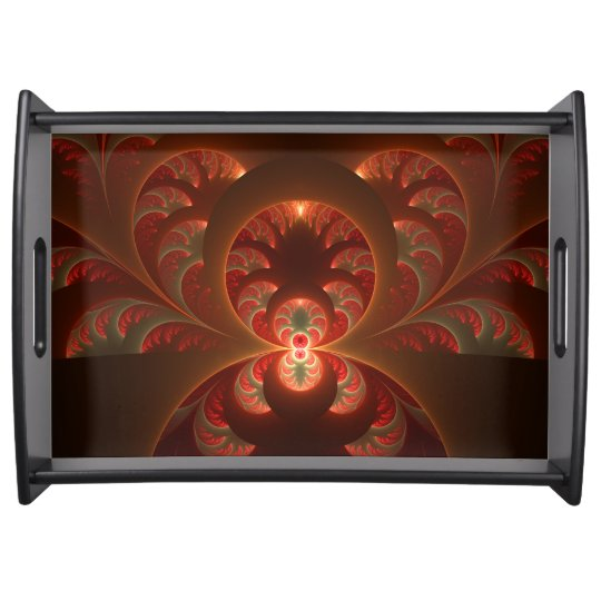 Luminous abstract modern orange red Fractal Serving Tray