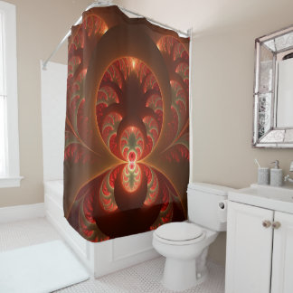 Luminous abstract modern orange red Fractal Shower Curtain