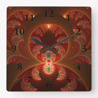 Luminous abstract modern orange red Fractal Square Wall Clock