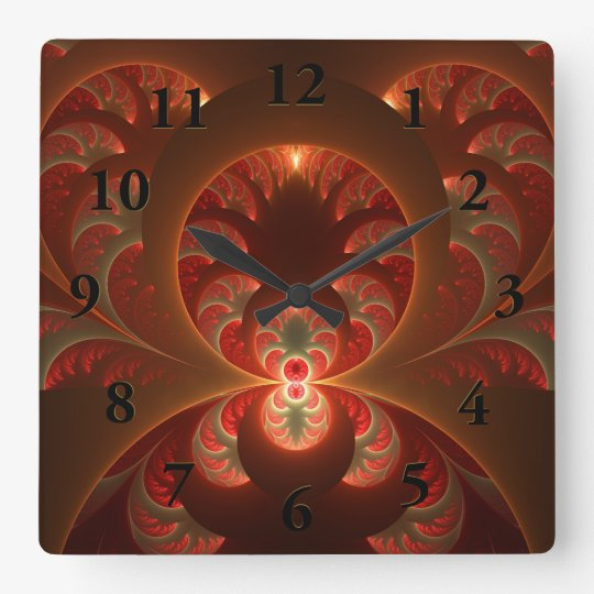 Luminous abstract modern orange red Fractal Square Wall