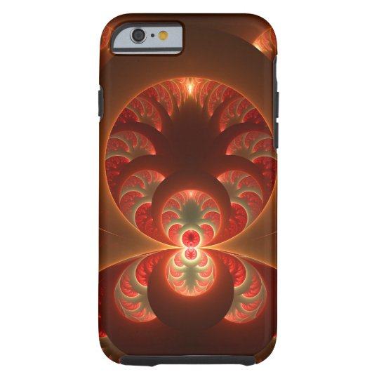 Luminous abstract modern orange red Fractal Tough iPhone 6 Case