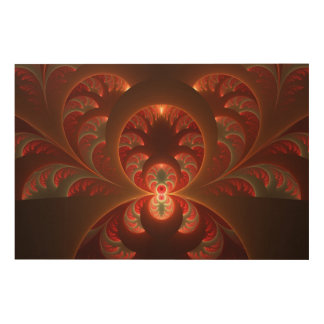 Luminous abstract modern orange red Fractal Wood Wall Decor