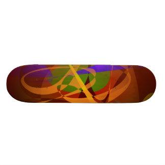 Luminous Brown Digital Abstract Art Skate Boards
