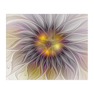 Luminous Colorful Flower, Abstract Modern Fractal Acrylic Print