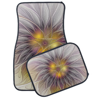 Luminous Colorful Flower, Abstract Modern Fractal Floor Mat