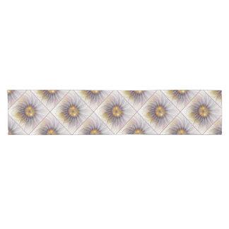 Luminous Colorful Flower, Abstract Modern Fractal Short Table Runner