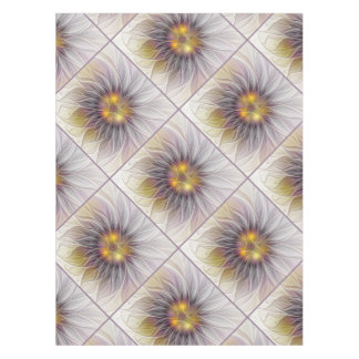 Luminous Colorful Flower, Abstract Modern Fractal Tablecloth