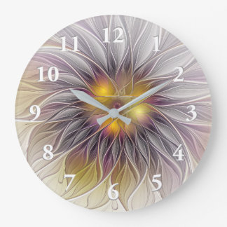 Luminous Colorful Flower, Abstract Modern Fractal Wall Clocks