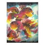 Luminous Colourful Goldfish Silk Art 11 Cm X 14 Cm Invitation Card