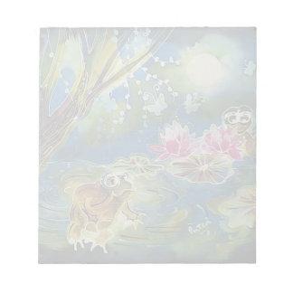 Luminous Frogs Silk Art Painting Notepad