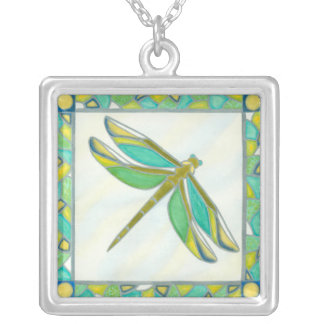 Luminous Pastel Dragonfly by Vanna Lam Silver Plated Necklace