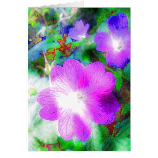 Luminous Pink Psychedelic Floral Card