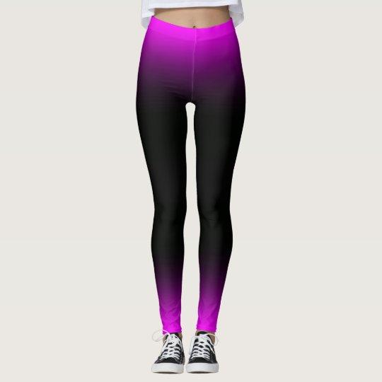 Luminous Pinkish Purple and Black Ombre Leggings