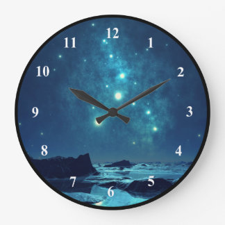 Luminous Stars in the Snowy North Landscape Wall Clock