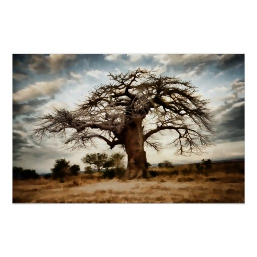 Luminous Tree and Sky on th Winter Prairie Poster