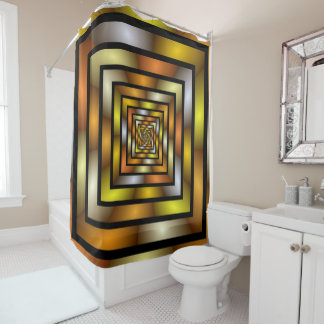 Luminous Tunnel Colorful Graphic Fractal Pattern Shower Curtain