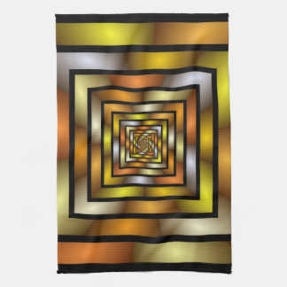 Luminous Tunnel Colorful Graphic Fractal Pattern Tea Towel