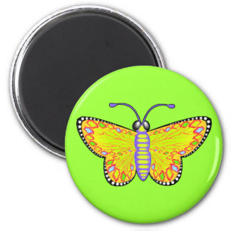 Luminous Yellow Butterfly 6 Cm Round Magnet