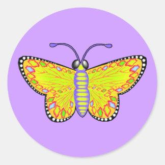 Luminous Yellow Butterfly Round Sticker