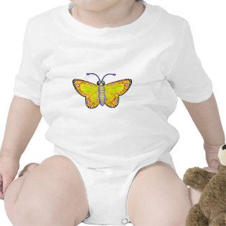 Luminous Yellow Butterfly Baby Bodysuits