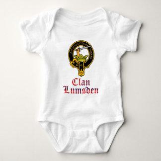 Lumsden scottish crest and tartan clan name baby bodysuit