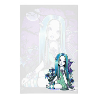 """Luna"" Gothic Moon Lilly Fairy Art Stationery"