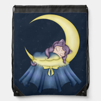 Luna Lullaby Cat Sleeping On The Moon Drawstring Bag