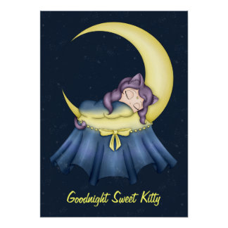 Luna Lullaby Cat Sleeping On The Moon Poster