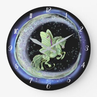 Luna Moonduster Moth Fairy Horse Large Clock