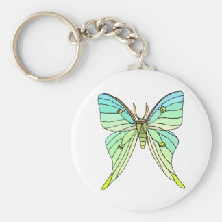 Luna Moth Basic Round Button Key Ring