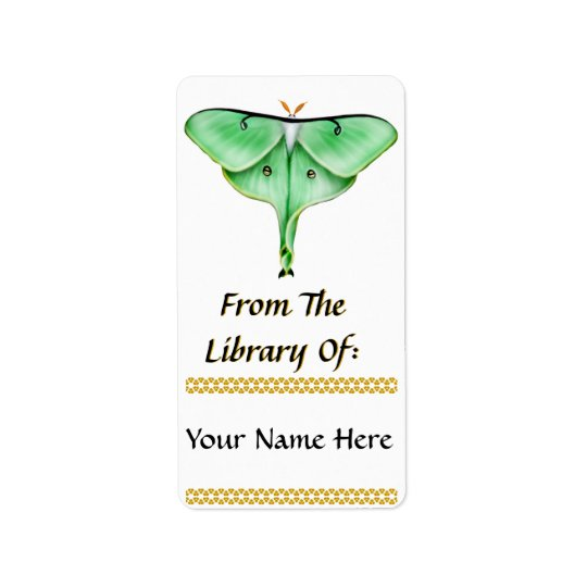 Luna Moth Bookplate Address Label