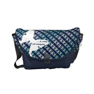 Luna Moth Buffalo Plaid Damask Mint Midnight Blue Courier Bag