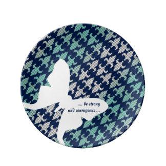 Luna Moth Buffalo Plaid Damask Mint Midnight Blue Porcelain Plate