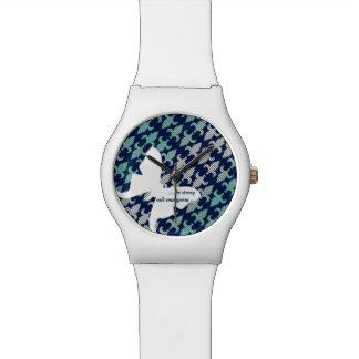 Luna Moth Buffalo Plaid Damask Mint Midnight Blue Watch