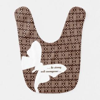 Luna Moth Dark Brown MudCloth Inspired Tiling Bibs