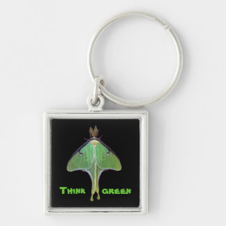 Luna Moth Earth Day Silver-Colored Square Key Ring