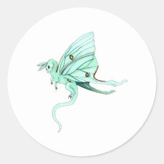 Luna Moth Fairy Dragon Round Sticker