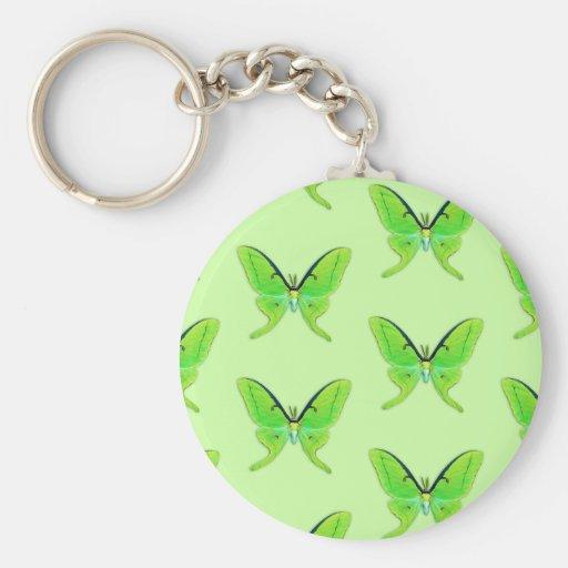 Luna moth on a pale green background keychain