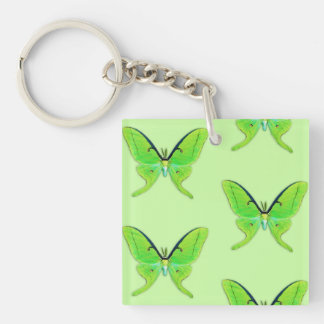 Luna moth on a pale green background square acrylic key chain