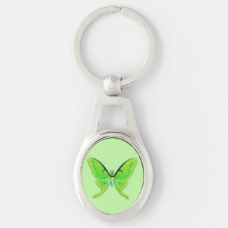 Luna moth on a pale green background key chain