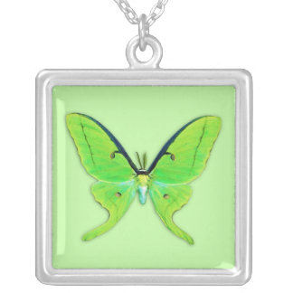 Luna moth on a pale green background personalized necklace